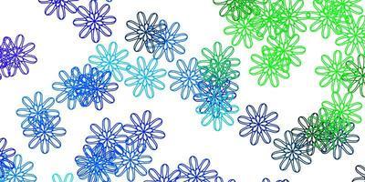 natürliches Layout des hellblauen, grünen Vektors mit Blumen.