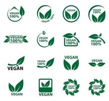 vegane Ikone Bioökologie eingestellt vektor