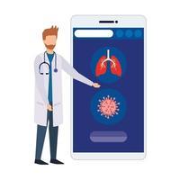 Online-Medizin mit Arzt und Smartphone