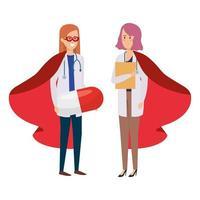 kvinnliga läkare som superhjältar