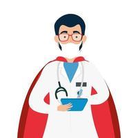 männlicher Arzt, der eine Gesichtsmaske als Superheld trägt