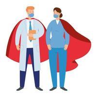 Mitarbeiter des Gesundheitswesens tragen Gesichtsmasken als Superhelden