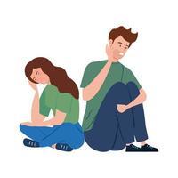 depressives und gestresstes junges Paar