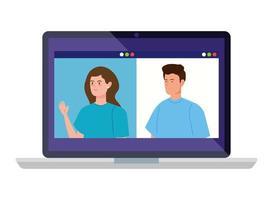 människor i en videokonferens på den bärbara datorn