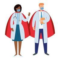 Ärzte tragen Gesichtsmasken als Superhelden