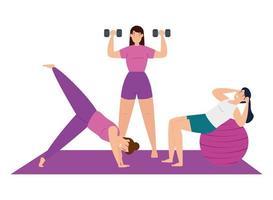 kvinnor som tränar och gör yoga tillsammans