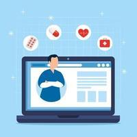 Online-Medizintechnik mit Sanitäter und Laptop vektor