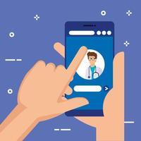 händer med smartphone med onlinemedicin vektor