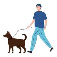 Mann geht mit dem Hund spazieren