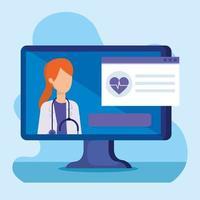 Online-Medizintechnik mit Arzt und Computer