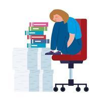 nervös kvinna som sitter på en stol med mycket arbete att göra