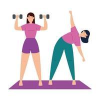 Frauen, die zusammen trainieren und Yoga machen