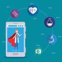 Online-Medizintechnik mit Arzt und medizinischen Ikonen