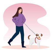 kvinna som går med hunden