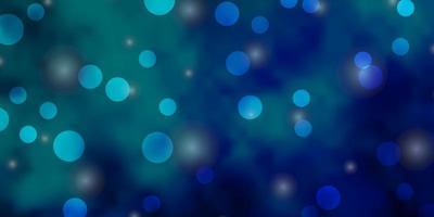 hellblauer, grüner Vektorhintergrund mit Kreisen, Sternen.
