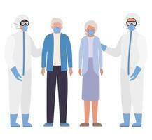 äldre kvinna och man med masker och läkare med skyddsdräkter mot covid 19 vektordesign vektor