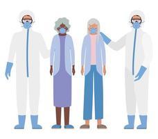 äldre kvinnor med masker och läkare med skyddsdräkter mot covid 19 vektordesign