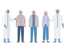 äldre kvinna och män med masker och läkare med skyddsdräkter