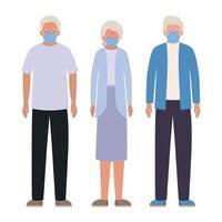 äldre män och kvinna med masker mot covid 19 vektordesign