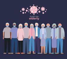 ältere Frauen und Männer mit Masken gegen Covid 19 Design
