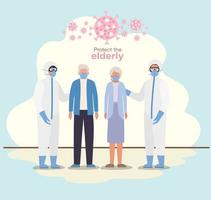 äldre kvinna och man med masker och läkare med skyddsdräkter mot covid 19 vektordesign
