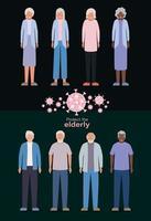 äldre kvinnor och män mot covid 19 vektordesign