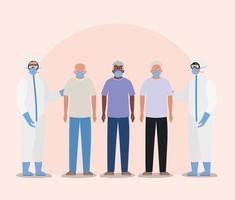 ältere Männer mit Masken und Ärzte mit Schutzanzügen gegen covid 19 Vektordesign