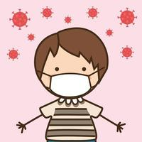 Junge Kind mit Maske gegen 2019 ncov Virus Vektor-Design