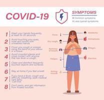 covid 19 virusförebyggande tips symtom och kvinna avatar vektor design