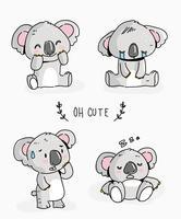 Gullig Koala Character Doodle Vector Illustration