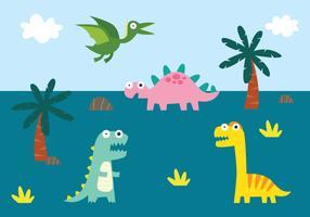 Gullig Dino Illustration