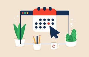 kalender eller agenda på webbläsarfönstrets skärmvektorillustration, platt tecknad online-arrangörsapp på pc-skärm med påminnelse om händelsedatum vektor