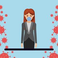 Geschäftsfrau mit Maske gegen 2019 ncov Virusvektorentwurf