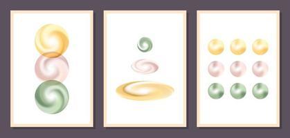 minimalistische geometrische Vektorgrafik-Wandplakate. Satz von minimalen geometrischen abstrakten zeitgenössischen Plakaten Vektorschablone mit Kugeln Formen Elemente ideal für die Wanddekoration modernen skandinavischen Stil