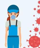 kvinnaträdgårdsmästare med mask mot 2019 ncov-virusvektordesign vektor
