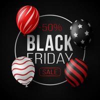 Schwarzer Freitag-Verkaufsplakat mit glänzenden Luftballons auf schwarzem Hintergrund mit Glaskreisrahmen. Vektorillustration.