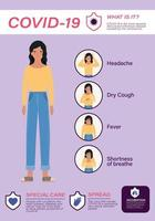 covid 19 virussymtom och sjuk kvinna avatar vektor design