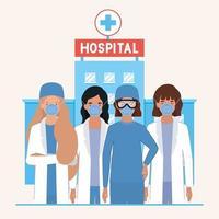 kvinnliga läkare med masker mot 2019 ncov-virusvektordesign vektor