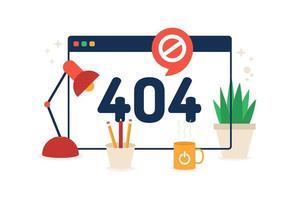 Seite nicht gefunden 404 Design. Vektorillustration 404 Fehler Webseitenkonzept. minimaler Cartoon flacher Stil. vektor