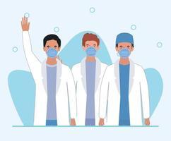 Männer Ärzte mit Masken gegen 2019 ncov Virus Vektor-Design vektor