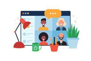 online-utbildning, e-lärande, online-kurs koncept, hemskola vektorillustration. studenter på webbläsarens fönster datorskärm, distansutbildning, ny normal, tecknad vektor platt illustration