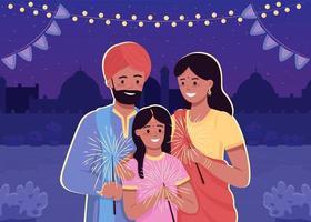 glad indisk familj platt färg vektorillustration vektor