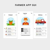 Bönder App UI Template Vectoir vektor