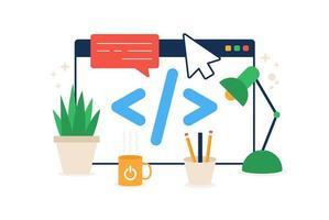 kod i webbläsarikonen. element av cybersäkerhetsikon för mobila koncept och webbappar. färgad kod i webbläsarikonen kan användas för webb och mobil vektor platt illustration