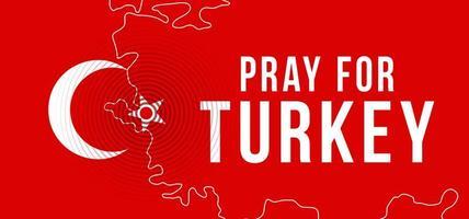 das Epizentrum des Erdbebens in der Türkei. betet für die Türkei. Vektor-Illustrationskarte mit dem Text, der Gebete wegen eines starken Erdbebens nahe Izmir am 30. Oktober bittet