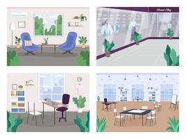 inredning dekoration platt färg vektor illustration set