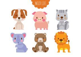 Set med söt illustration av vilda djur vektor