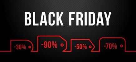 svart fredag försäljning på röd prislapp. vektor uppsättning realistiska isolerade tomma prislapp kuponger för svart fredag försäljning för dekoration och täcker på den mörka bakgrunden.