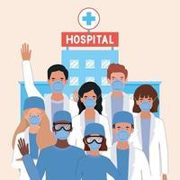 män och kvinnor läkare med masker mot 2019 ncov virus vektor design