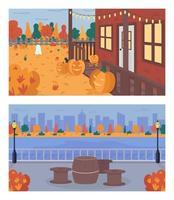 hösthelg i staden platt färg vektor illustration set